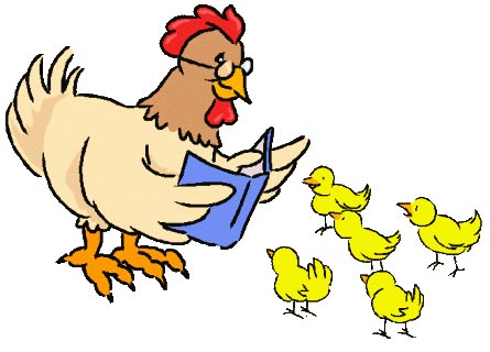 Drawing of hen reading to chicks