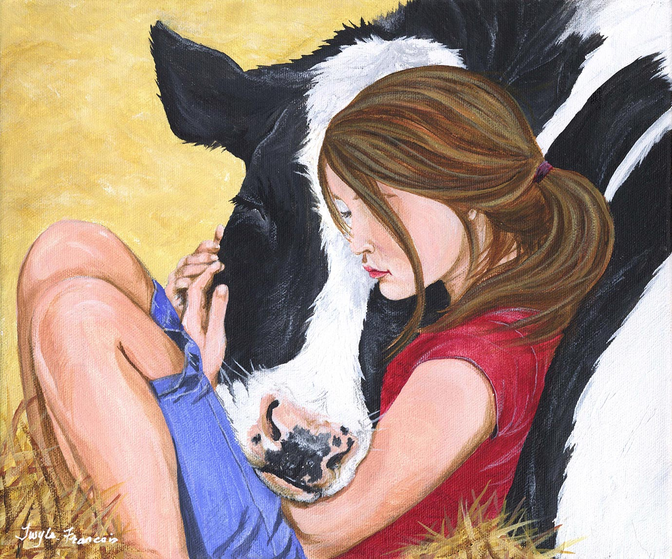 Painting of a girl in hay hugging a cow