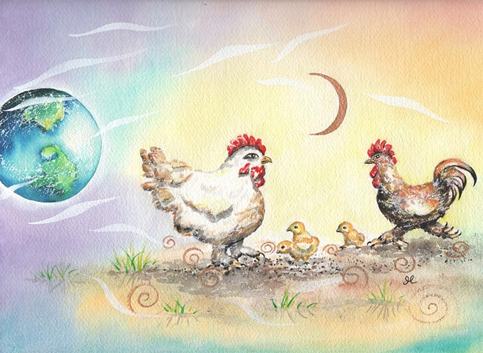 Painting of Chickens with earth and moon in the background.
