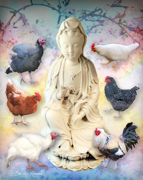 Kwan Yin (the goddess of compassion) surrounded by chickens