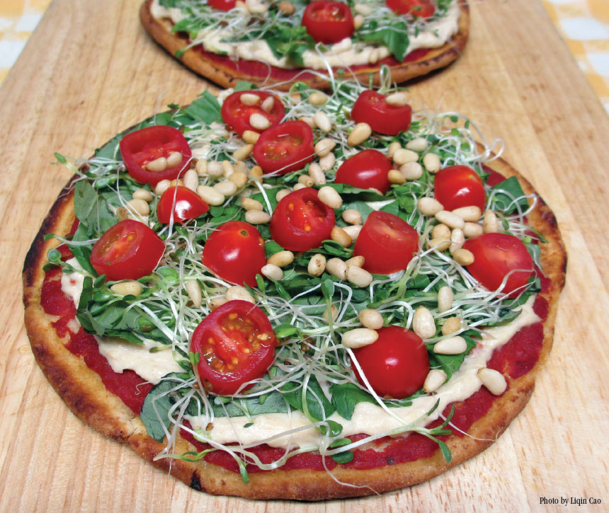 Pizza with Hummus and Herbs