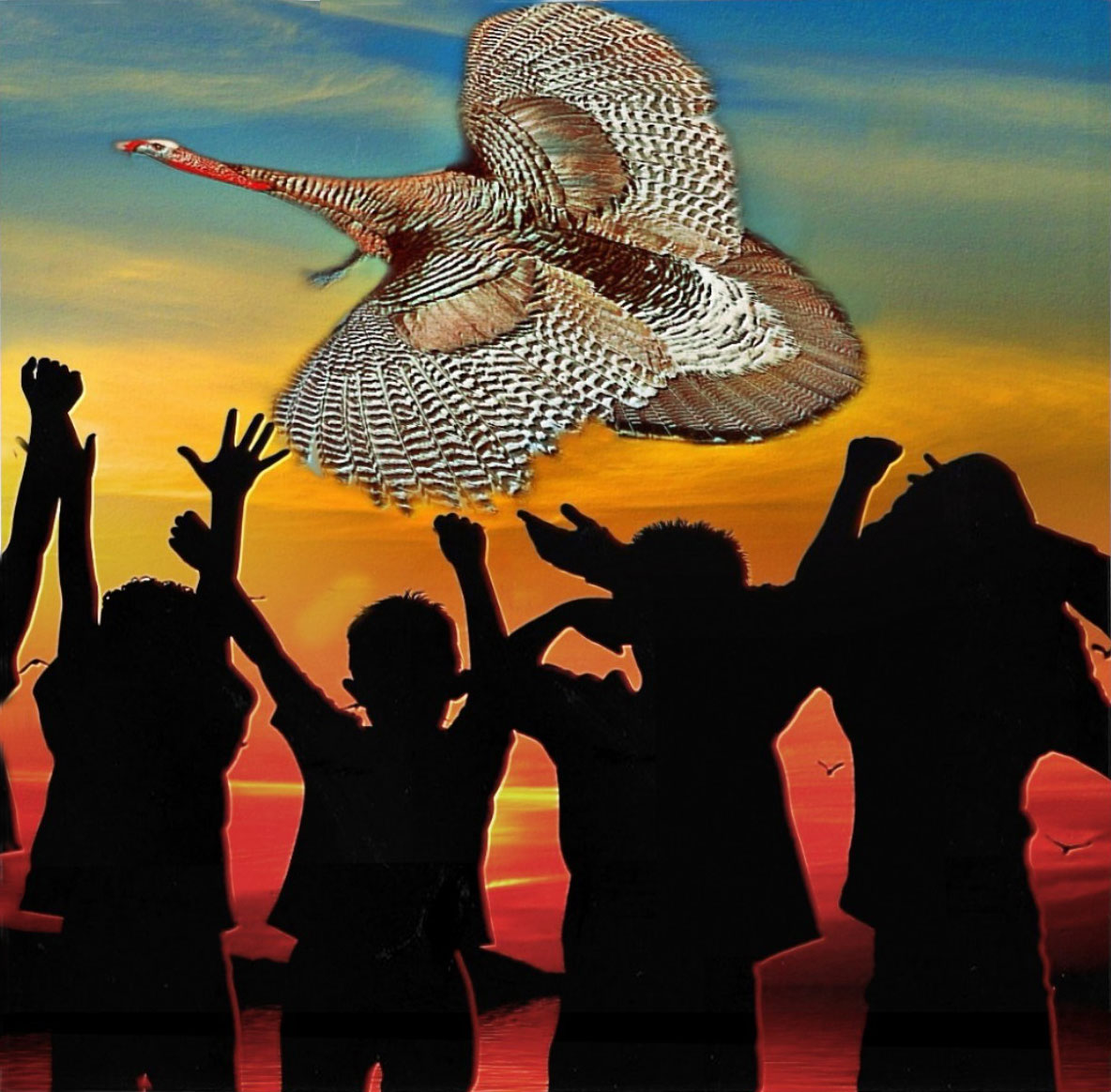 Collage of children with outstretched arms and turkey with wings extended in the sunset