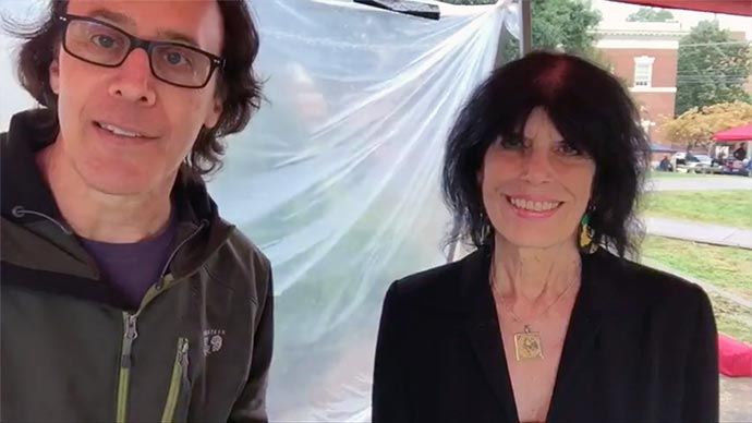 David and Karen standing in a tent