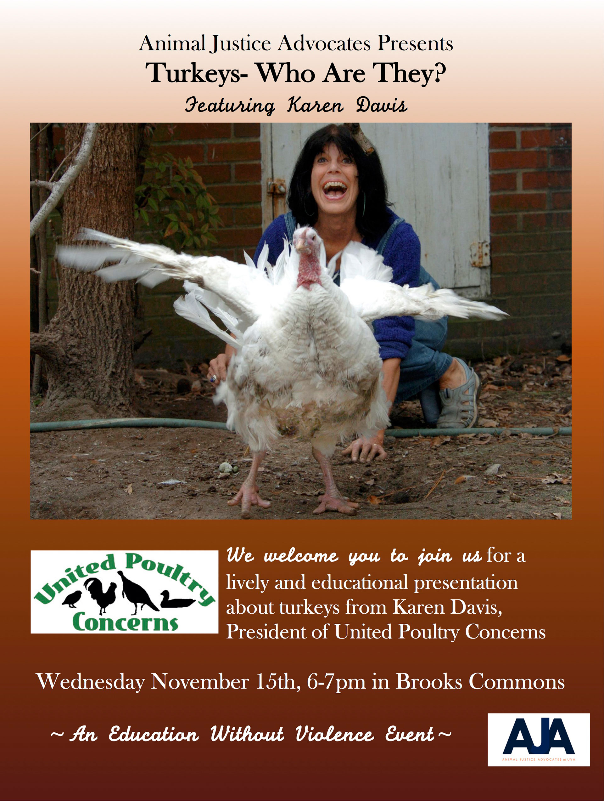 Turkeys - Who Are They? poster shows a turkey flapping her wings with Karen laughing in the background