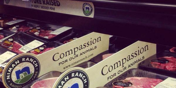 Whole Foods sign: Compassion for our animals